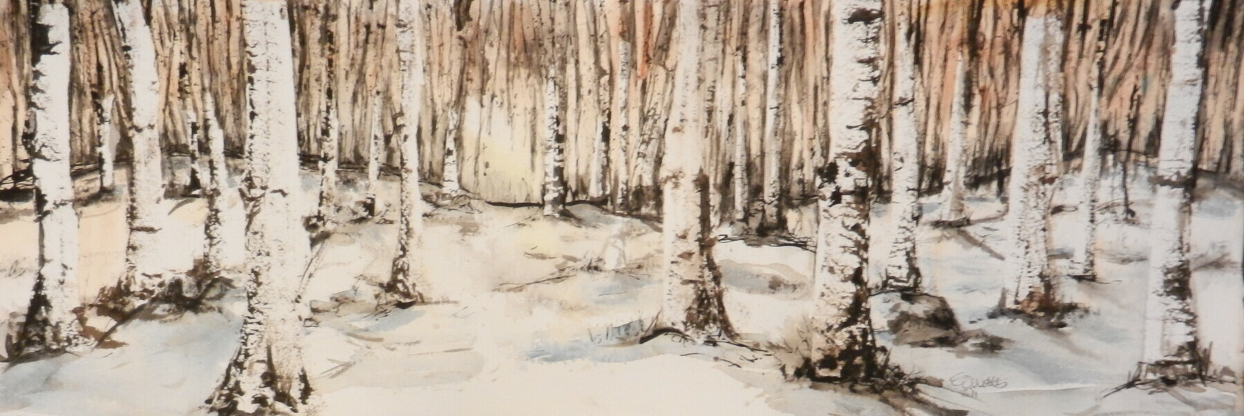 Birch Tree Paintings On Canvas Birch trees--winter - elaine
